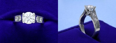 Round Diamond Ring: 1.08 carat with 0.27 tcw Round Diamonds in mounting