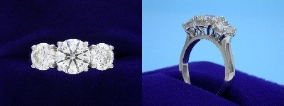 Round Diamond Ring: 1.10 carat with 1.03 tcw Round Side Diamonds