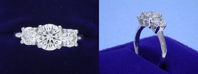 Round Diamond Ring: 1.17 carat with 0.82 tcw Side Round Diamonds
