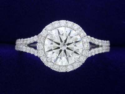 Round Diamond Ring 1 20 Carat In 0 43 Tcw Pave Halo And