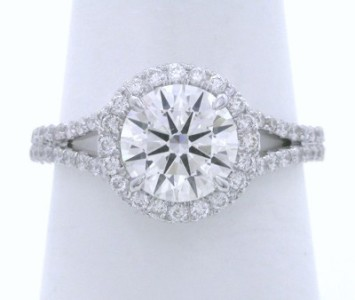 Round Diamond Ring: 1.20 carat in 0.43 tcw Pave Halo and Split Shank Mounting