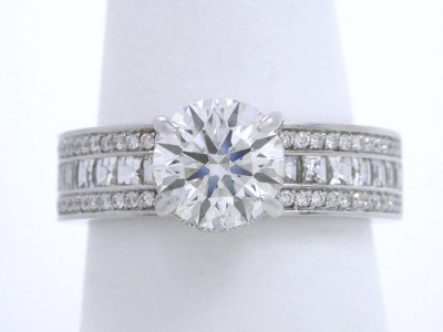 Round Diamond Ring: 1.23 carat with 0.46 tcw Blaze Cut and 0.23 tcw Pave Mounting