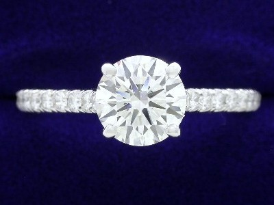 Round Diamond Ring: 1.25 carat in 0.35 tcw Pave Cathedral Mounting