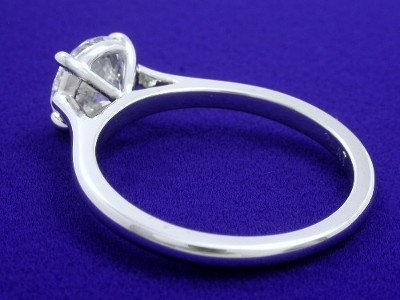 Round Diamond Ring: 1.27 carat in Platinum Cathedral-Style Mounting