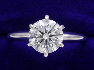 Round Diamond Ring: 1.35 carat G SI1 in 6-prong Solitaire Style Mounting