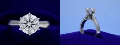 Round Diamond Ring: 1.39 carat in six-prong Cathedral style mounting