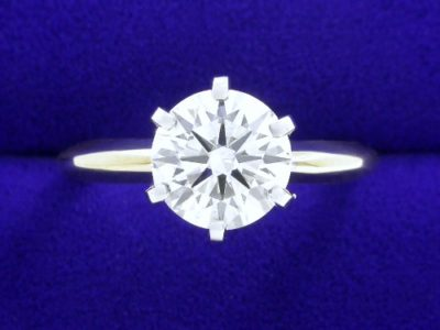 Round cut 1.50 carat I SI2 in 6-prong two-tone mounting