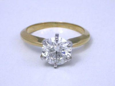 Diamond solitaire ring with a 1.50-carat round brilliant-cut diamond