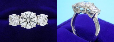 Round Diamond Ring: 1.50 carat in 1.02 tcw Round Three Stone Mounting