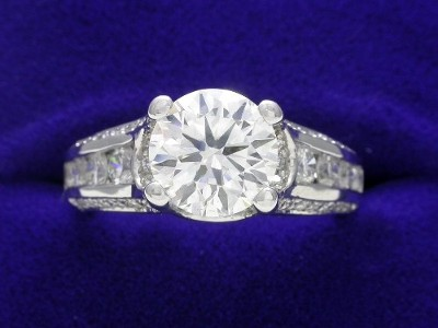 Round Diamond Ring: 1.54 carat in 0.70 tcw Verragio Designer Mounting