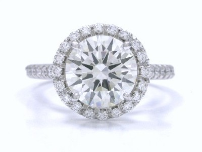 Round Diamond Ring: 1.70 carat with 0.33 tcw Pave-Set mounting