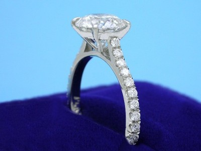 Round Diamond Ring: 1.81 carat in 0.28 tcw Pave Cathedral Mounting