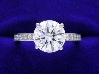 Round Diamond Ring: 1.83 carat with 0.21 tcw Round Brilliant Diamonds
