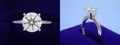 Round Diamond Ring: 1.84 carat H VS2 in 4-prong Solitaire Mounting