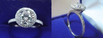 Round Diamond Ring: 1.86 carat in Bez Ambar pave mounting