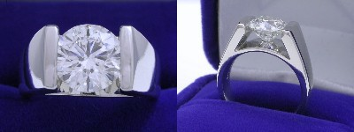 Round Diamond Ring: 2.20 carat in Quest Cathedral style mounting