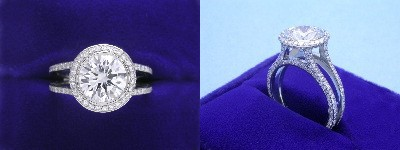 Round Diamond Ring: 2.23 carat in Bez Ambar Split Shank pave mounting