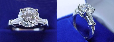 Round Diamond Ring: 2.34 carat with Tapered Baguettes