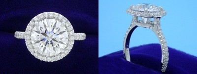 Round Diamond Ring: 2.51 carat in 0.32 tcw Pave Halo and Cathedral mounting