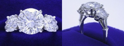 Round Diamond Ring: 3.25 carat Three-Stone with 1.85 tcw Round Side Diamonds