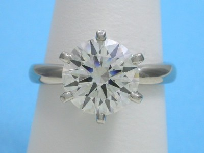Round Diamond Ring: 3.25 carat J SI1 in 6-prong Solitaire Mounting