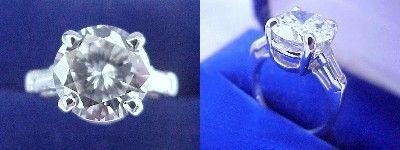 Round Diamond Ring: 3.44 carat with Straight Baguette Side Diamonds