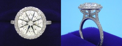 Round Diamond Ring: 4.07 carat with 0.59 tcw Pave Halo and Shank