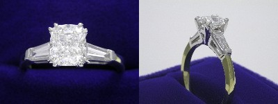 Cushion Cut 1.02 w 0.38 tcw tap. baguettes