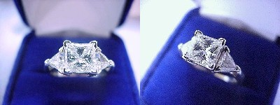 Princess Ring 1.21 ct 0.52 tcw Trillions