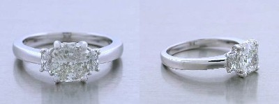 Radiant Cut Diamond Ring: 1.24 carat with 0.21 tcw Brilliant Cut Trapezoid Diamond Side Stones