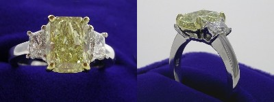 Radiant Cut Diamond Ring: 2.70 carat Fancy Yellow with 0.77 tcw Brilliant Cut Trapezoid Diamonds