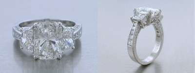 Radiant Cut Diamond Ring: 4.02 carat with 1.23 tcw Brilliant Cut Trapezoids for Side Stones