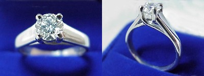 Round Diamond Ring: 0.51 carat in Trellis style mounting