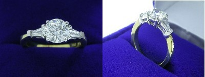 Round Diamond Ring: 1.03 carat with 0.35 tcw Tapered Baguettes