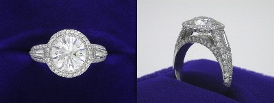 Round Diamond Ring: 2.52 carat in Bez Ambar designer pave mounting