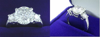 Round Diamond Ring: 2.52 carat with 0.65 tcw Ingwer mounting