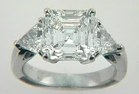  Asscher with trillions diamond ring