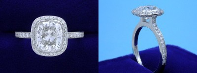 Cushion Cut Diamond Ring 2.20-carat with 1.15 ratio in Bez Ambar setting with 0.56 tcw pave-set round diamonds