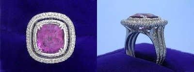 Cushion Cut Pink Sapphire Ring 7.03-carat in Bez Ambar setting with 1.09 tcw pave-set round diamonds