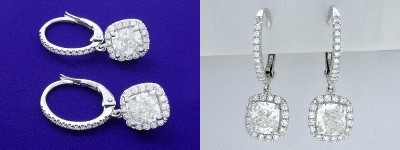 Cushion Cut Diamond Earrings: 2.08 tcw Cushions with 0.48 tcw Pave