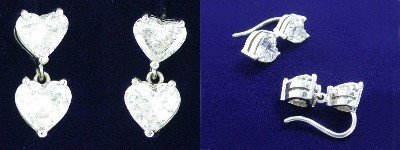 Heart Cut Diamond Earrings: 2.74 tcw Hearts with Dangle Basket Settings
