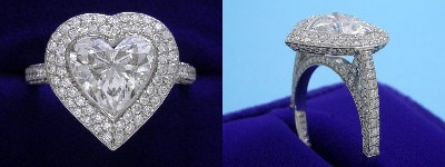 Heart Shaped Diamond Ring 2.10-carat with 0.94 ratio in Bez Amabar setting with 1.15 tcw pave-set round diamonds
