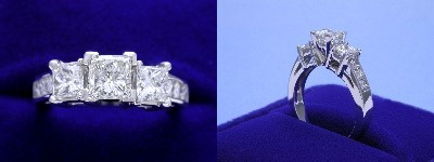 Princess Cut Diamond Ring 0.51-carat in Leo Ingwer setting with 0.93 tcw princess cut diamonds