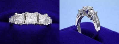 Princess Cut Diamond Ring 0.51-carat in Leo Ingwer setting with 0.96 tcw princess cut diamonds