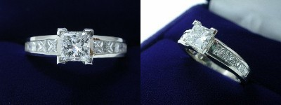 Princess Cut Diamond Ring 1.01-carat in Leo Ingwer setting with 0.76 tcw princess cut diamonds