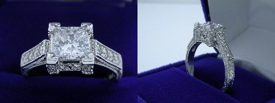 Princess Cut Diamond Ring 1.02-carat in Richard Landi setting with 0.34 tcw pave-set round diamonds and milgrain detailing