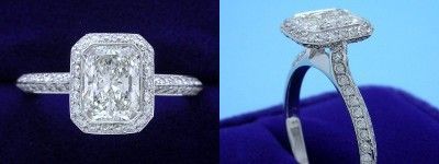 Radiant Cut Diamond Ring 1.00-carat with 1.32 ratio in Bez Ambar setting with 0.53 tcw pave-set round diamonds