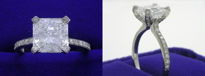 Radiant Cut Diamond Ring 2.07-carat with 1.00 ratio in Bez Ambar setting with 0.34 tcw pave-set round diamonds