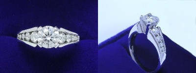 Round Brilliant Cut Diamond Ring 0.83-carat in Leo Ingwer setting with 0.45 tcw graduated, channel-set round diamonds