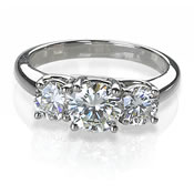 Three stone round diamond rings